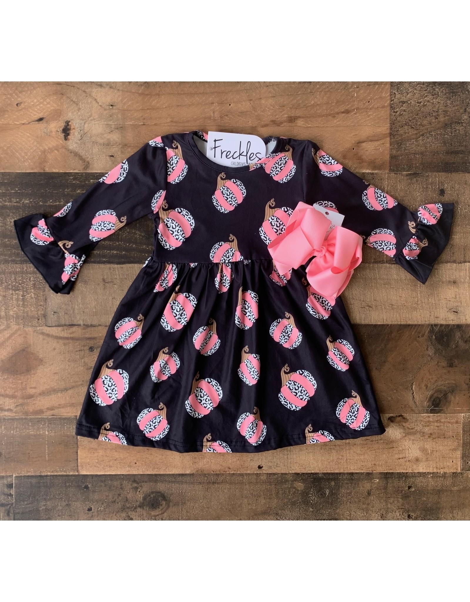 Black & Pink Pumpkin Flare Sleeve Dress
