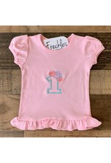 "Jade Presley Creations Floral ""1"" Light Pink Birthday Ruffle Shirt"