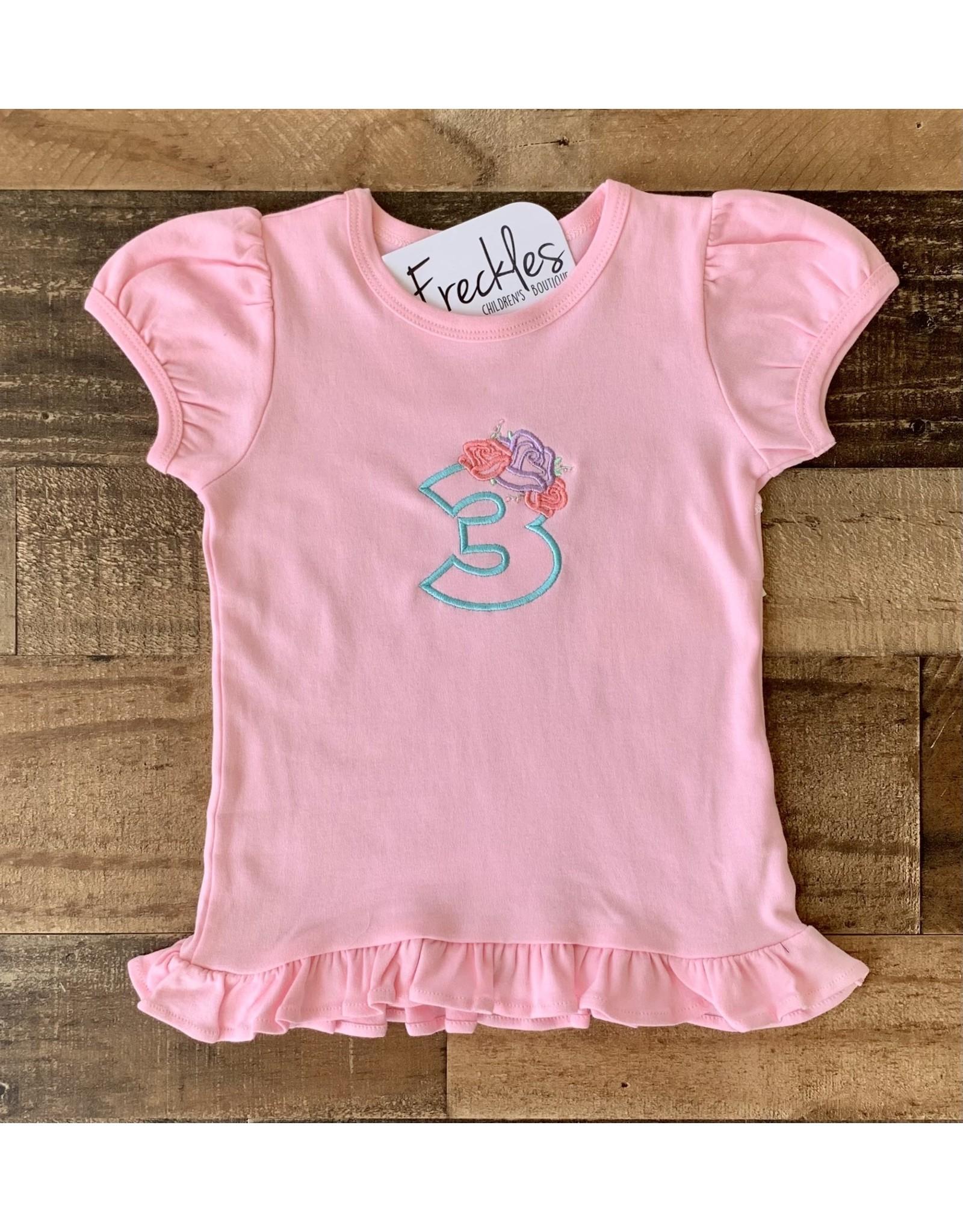 "Jade Presley Creations Floral ""3"" Light Pink Birthday Ruffle Shirt"