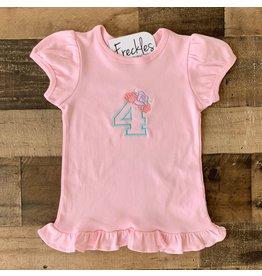 "Jade Presley Creations Floral ""4"" Light Pink Birthday Ruffle Shirt"
