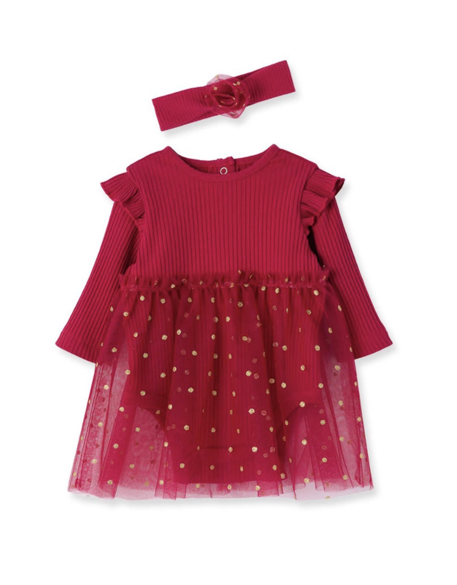 Little Me Little Me- Cranberry Gold Dots Tutu Set