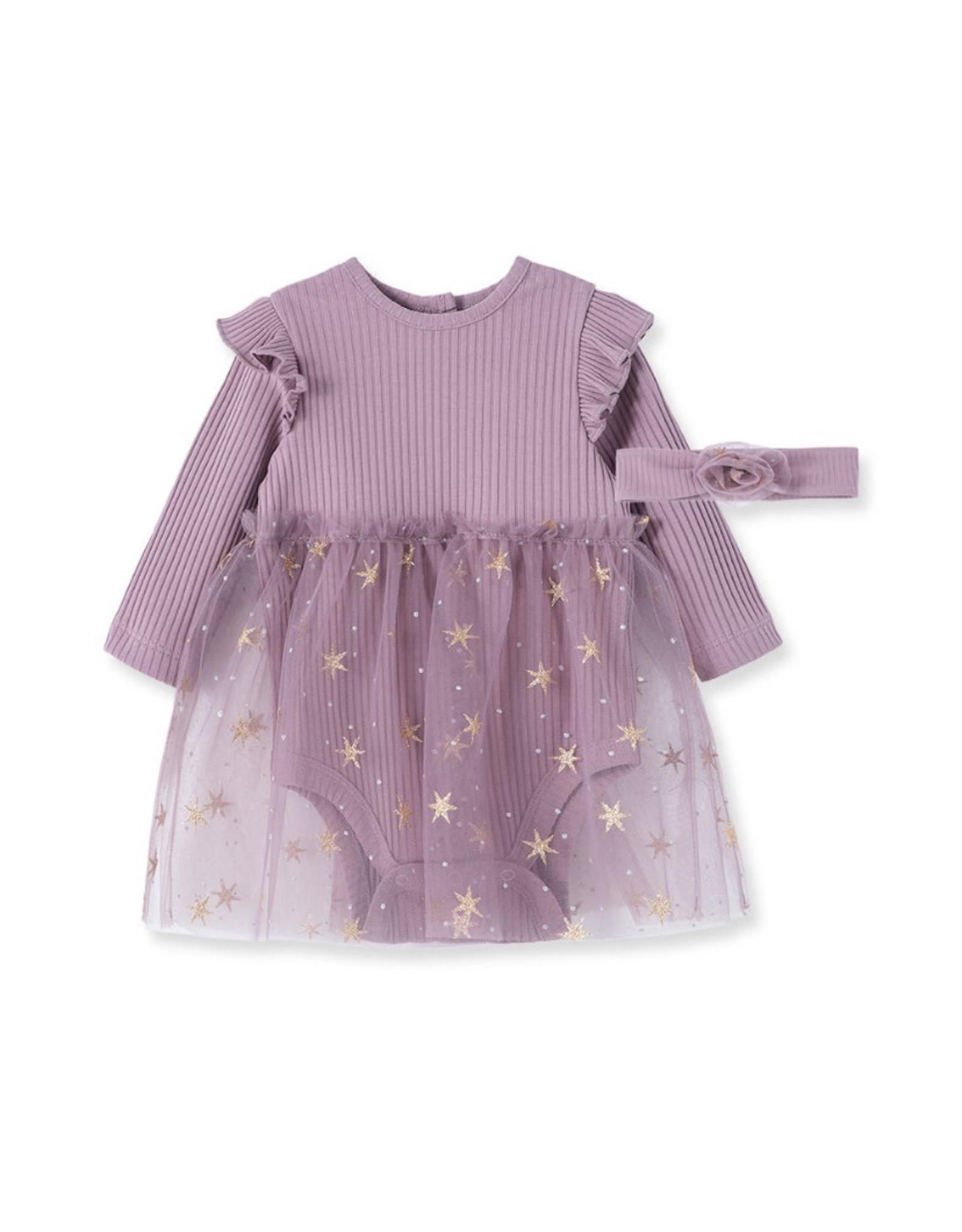 Little Me Little Me- Violet Gold Dots Tutu Set