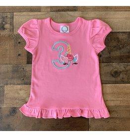 "Jade Presley Creations Unicorn ""3"" Hot Pink Birthday Ruffle Shirt"