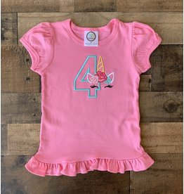 "Jade Presley Creations Unicorn ""4"" Hot Pink Birthday Ruffle Shirt"