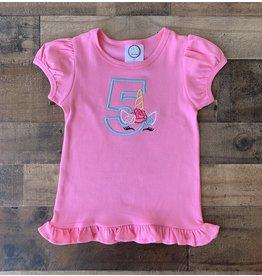 "Jade Presley Creations Unicorn ""5"" Hot Pink Birthday Ruffle Shirt"