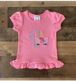 "Jade Presley Creations Unicorn ""1"" Hot Pink Birthday Ruffle Shirt"