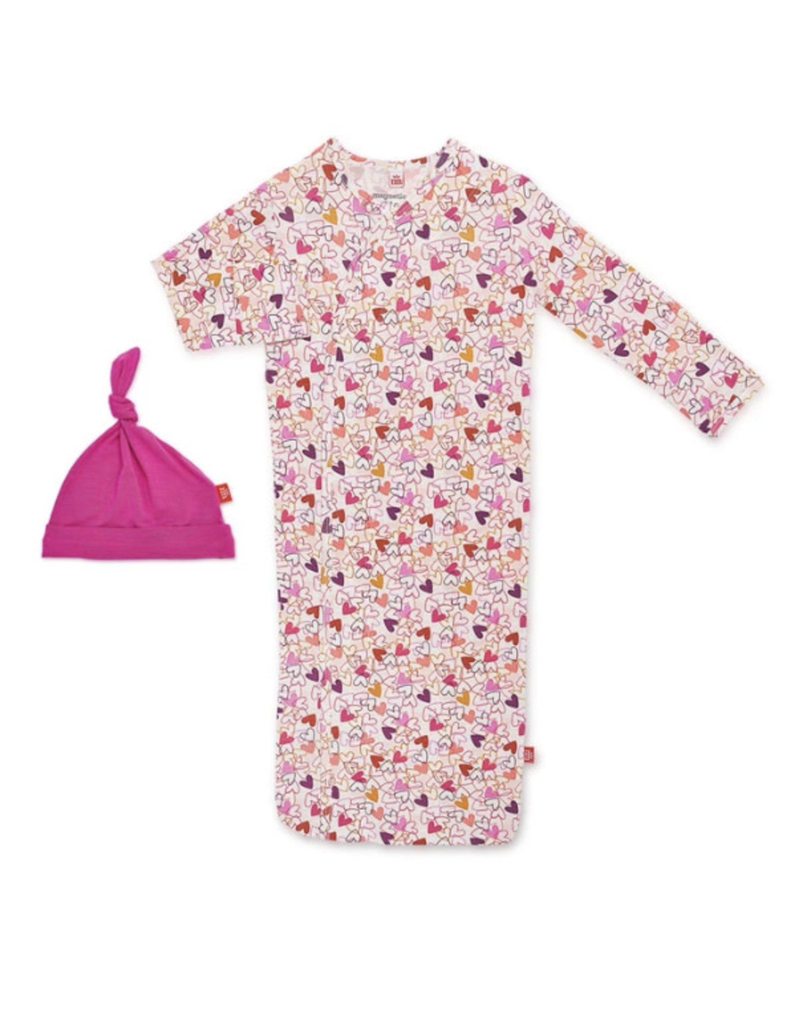 Magnetic Me Magnetic Me- Heart To Heart Modal Magnetic Gown & Hat Set 0-3M