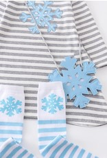 Grey Stripe Snow Applique Dress Set