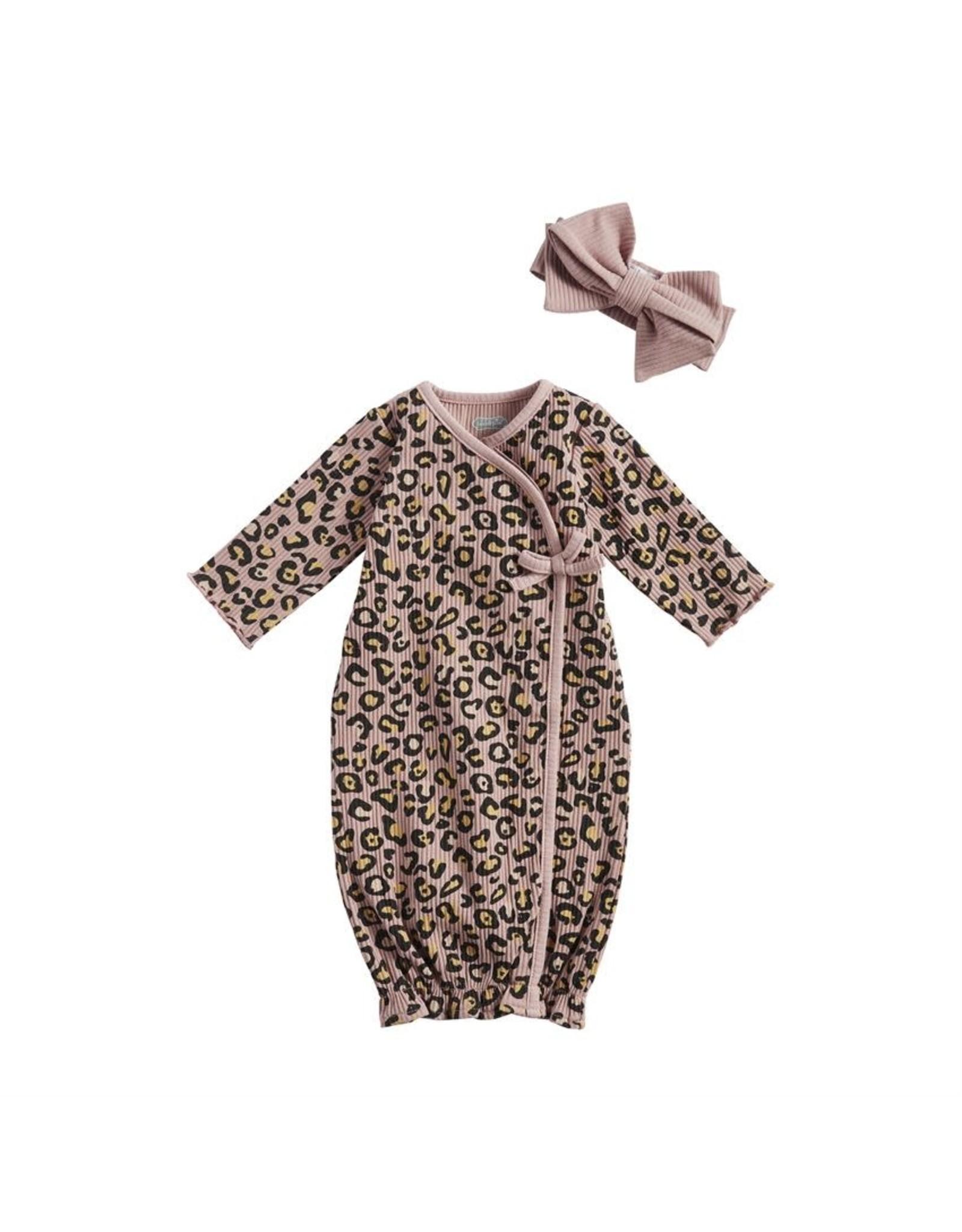 Mudpie Mud Pie- Mauve Leopard Gown & Headband Set 0-3M