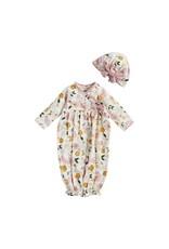 Mudpie Mud Pie- Mustard Floral Take Me Home  Gown & Headband Set 0-3M
