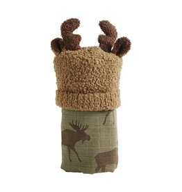 Mudpie Mud Pie- Moose Swaddle & Hat Set