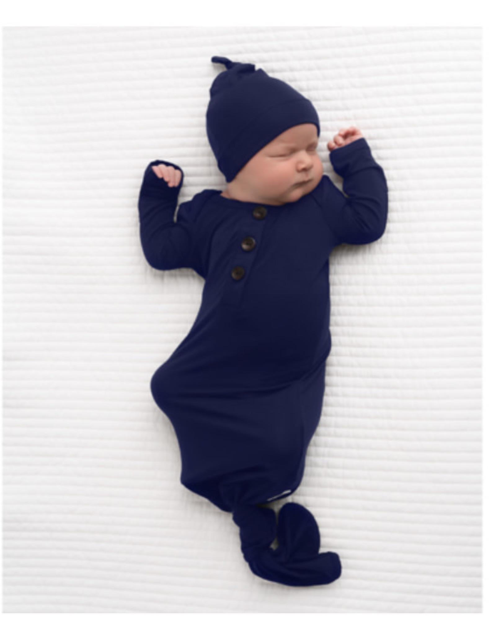 Gigi & Max Gigi & Max- James Navy Blue Knotted Gown & Hat Set NB-3m