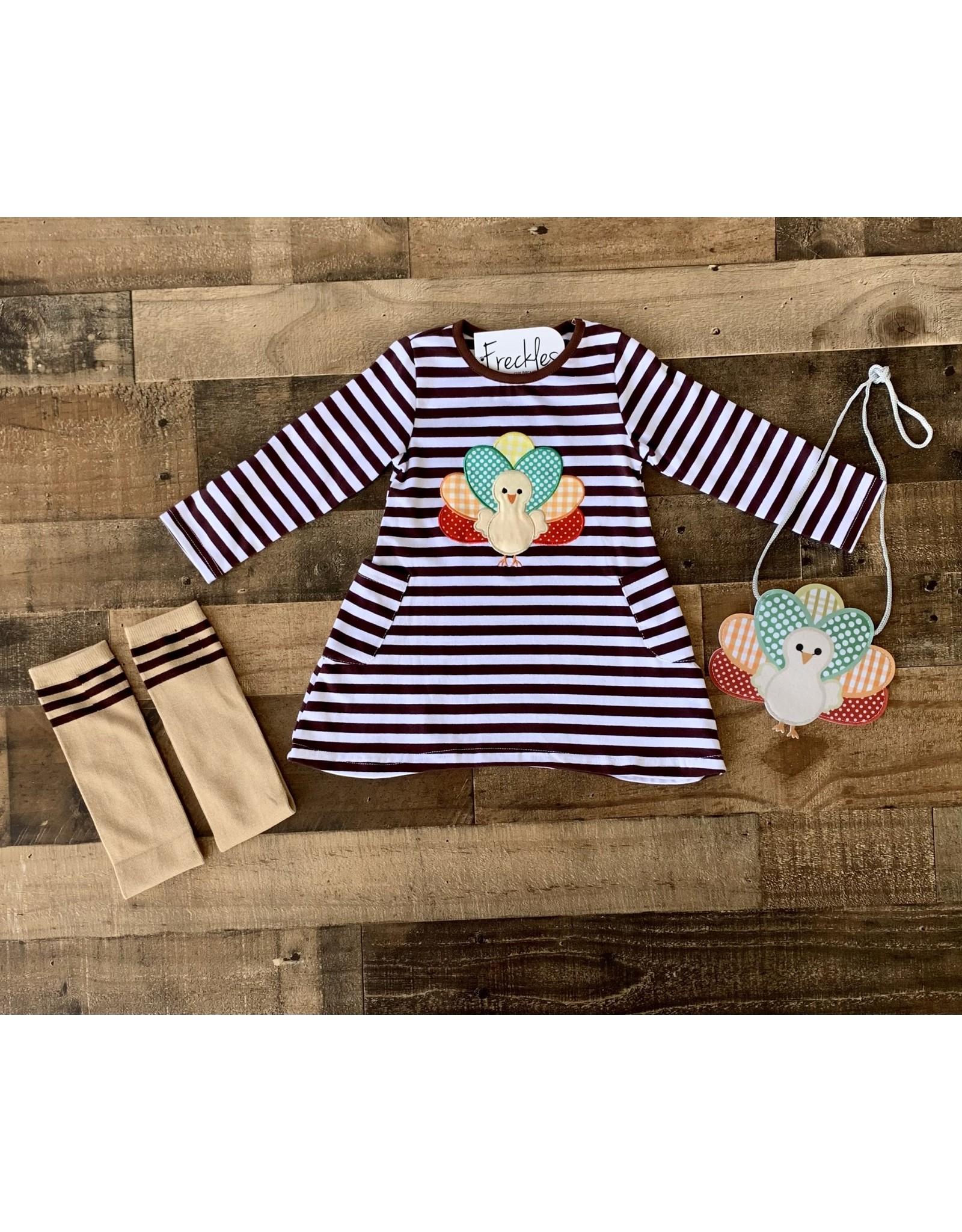 Brown Stripe Turkey Applique Dress 3pc Set
