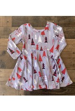 Grey Christmas Twirl Dress