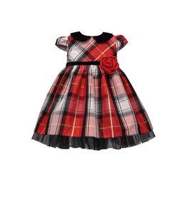 Bonnie  Jean Bonnie Baby- Cap Sleeve Plaid Empire Peter Pan Dress
