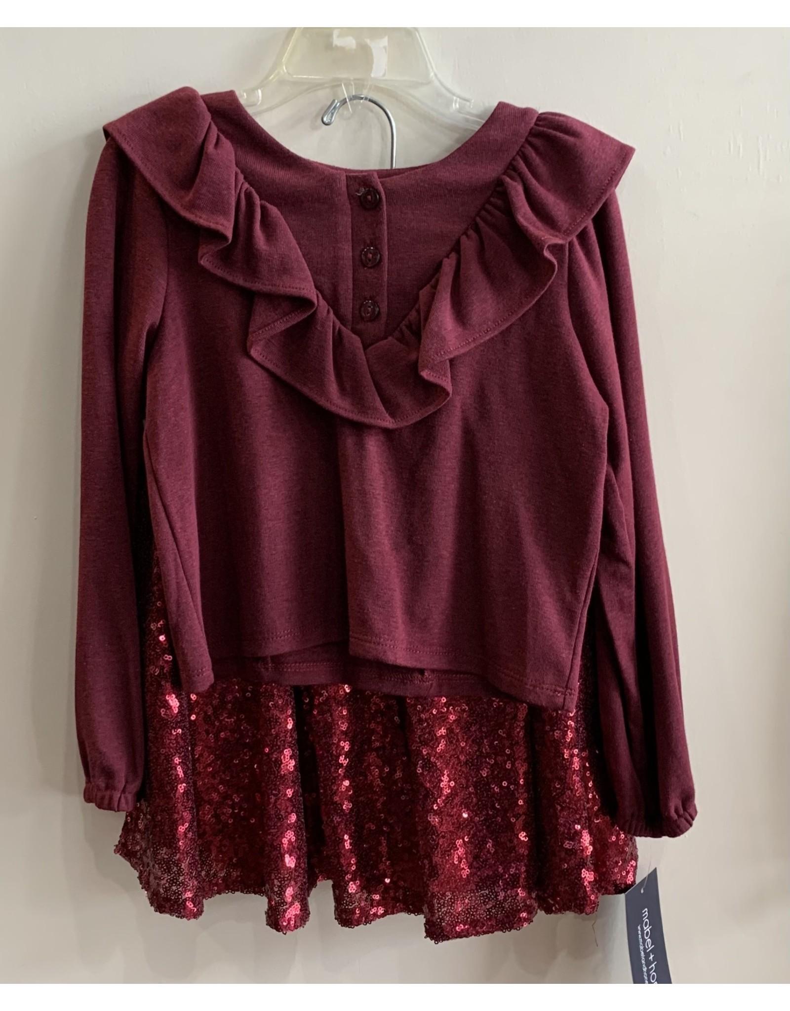 Mabel & Honey M & H- Dazzling Fireflies Dress- Burgundy