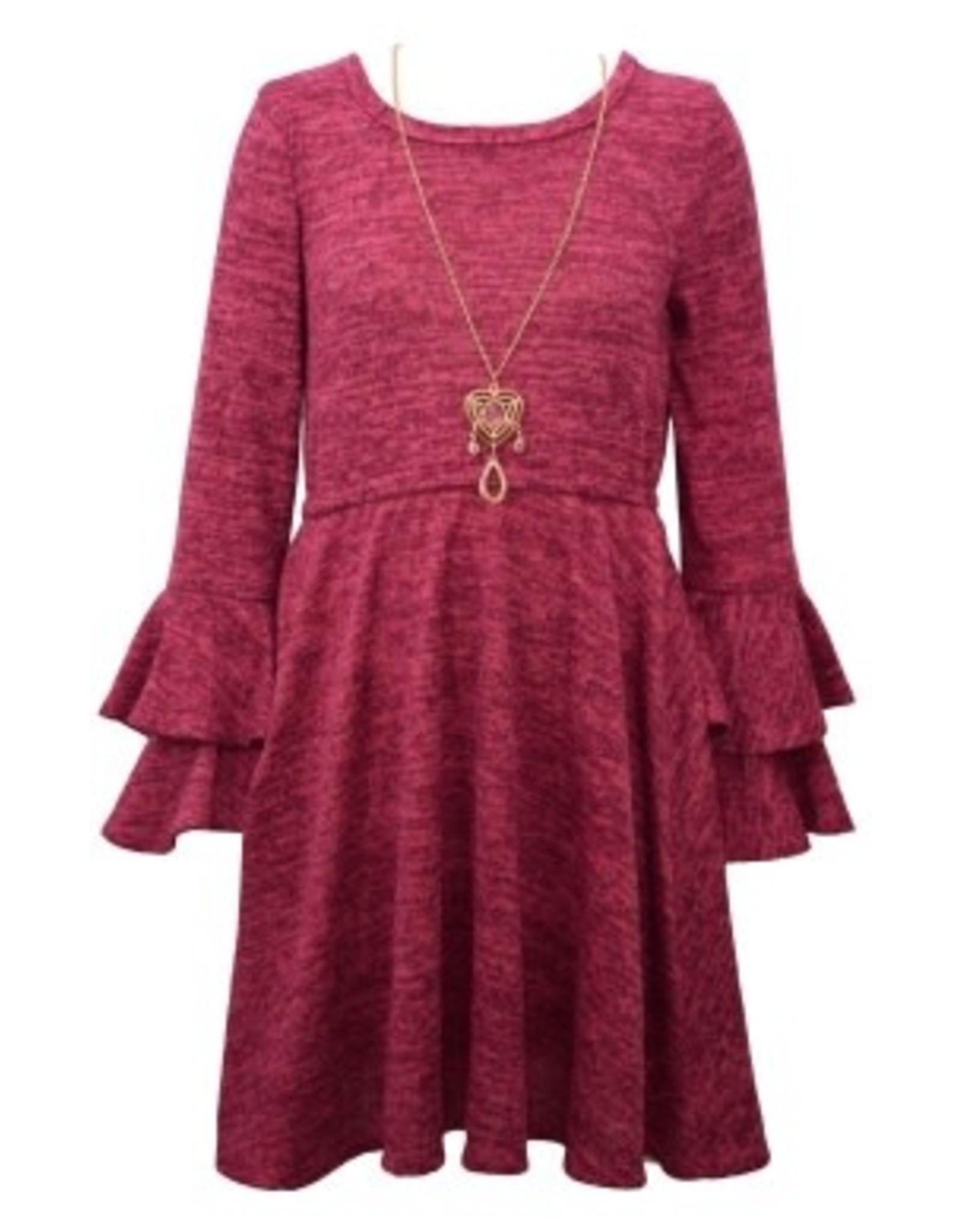 Bonnie  Jean Bonnie Jean- Double Bell Knit Fuschia Dress