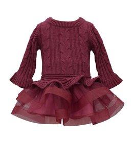 Bonnie  Jean Bonnie Jean- Burgundy Cable Knit Skirt Sweater Dress