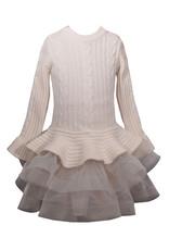 Bonnie  Jean Bonnie Jean - Ivory Cable Knit Sweater Dress