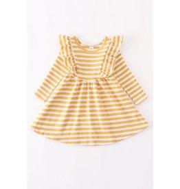 Mustard & White Stripe L/S Ruffle Dress