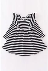 Black & White Stripe L/S Ruffle Dress