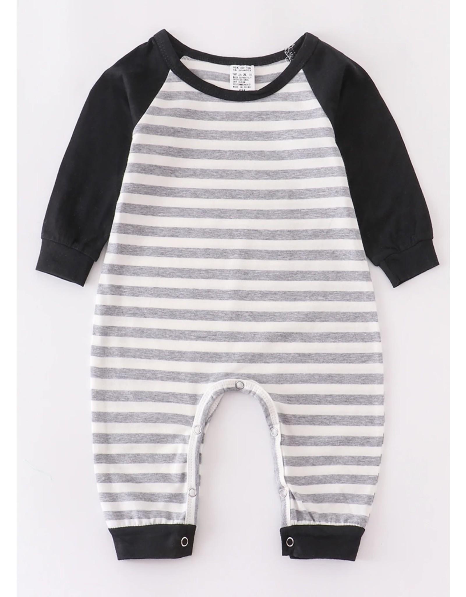 Grey Stripe & Black Romper