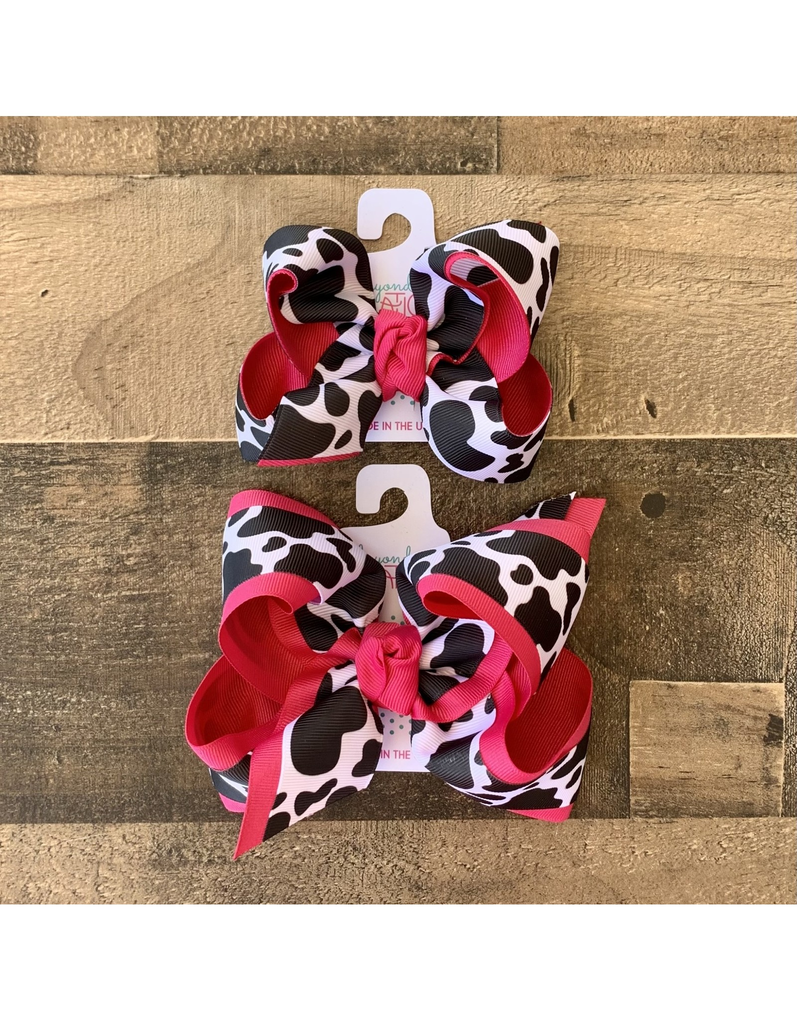 Beyond Creations Beyond Creations- Fuchsia Cow Layered Bow Clip:
