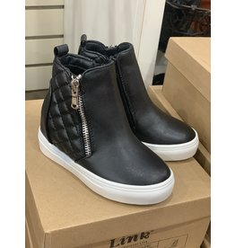 Black Quilted Leather High Top
