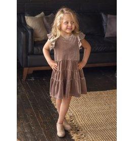 Isobella & Chloe Isobella & Chloe- SS Velvet Tiered Dress: Brown