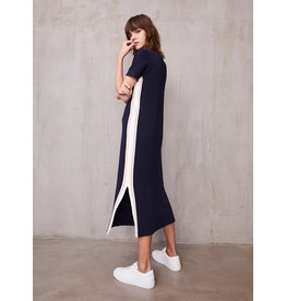 Autumn Cashmere Short Sleeve Midi Dress w/Racing stripes PE11606