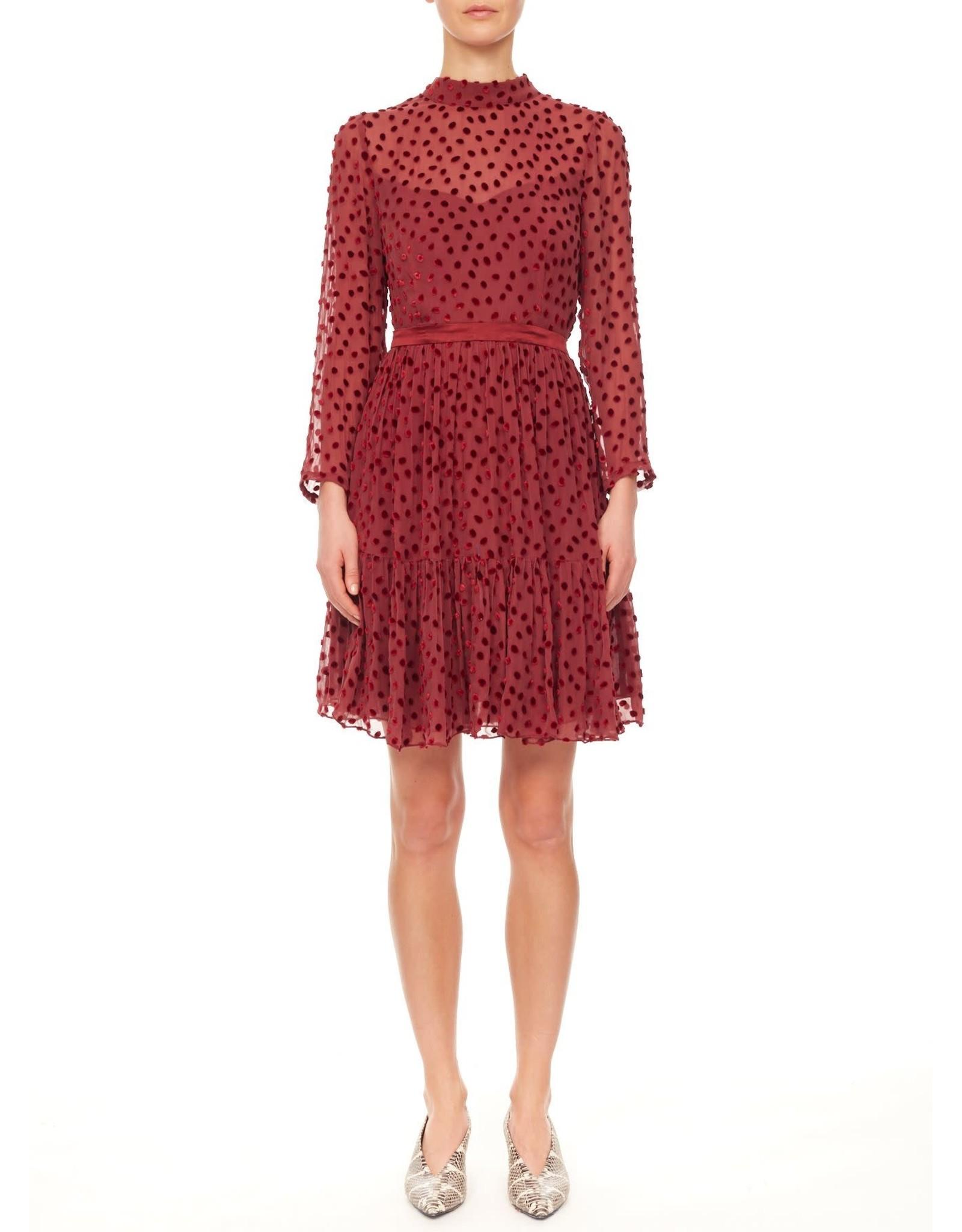 REBECCA TAYLOR L/S Velvet Dot Dress