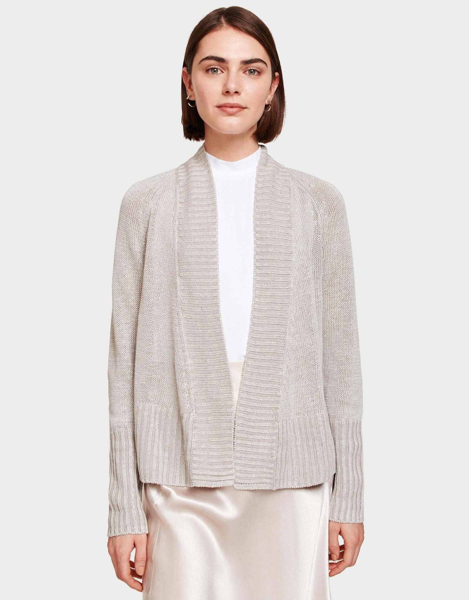 White + Warren 18617 Rib Placket Open Cardi
