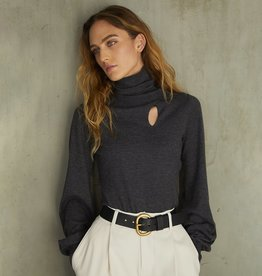 Autumn Cashmere Juliette Sleeve Keyhole Turtleneck