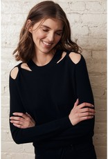 Autumn Cashmere r11725 Twist Shoulder Crew MED