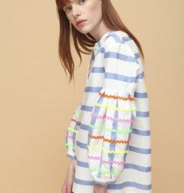 VILAGALLO Stripe Blouse w/Bell Sleeve