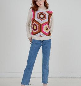 Autumn Cashmere Crochet Front Crew R12538