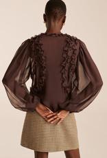 REBECCA TAYLOR Scalloped Silk Chiffon Blouse