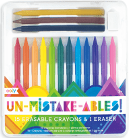 Ooly UnMistakeAbles 15 Erasable Crayons + Eraser