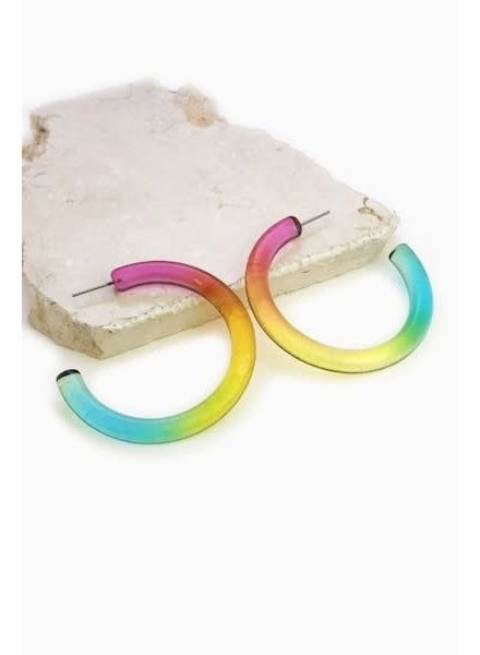 Multi Color Tube Hoop Earrings
