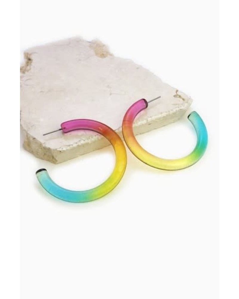 Multi Color Tube Hoop Earrings