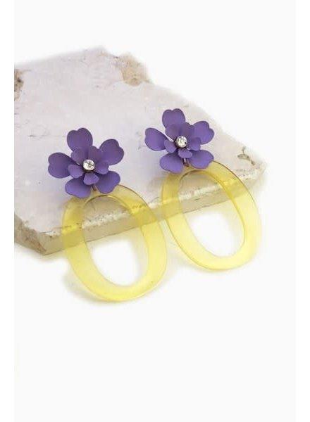 Flower and Acrylic Earrings