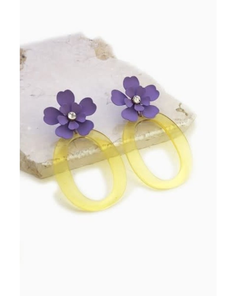 Flower and Acrylic Earrings