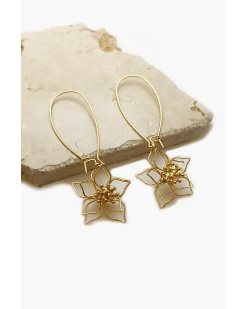 Flower Oval Hoop Earrings
