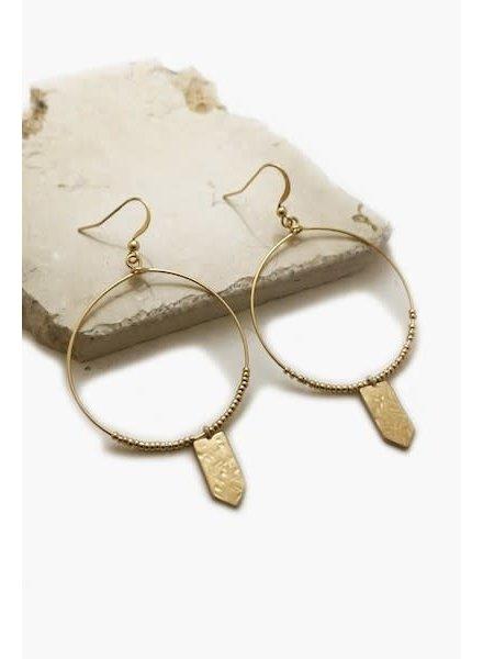 Hoop with Pentagon Plate Earrings