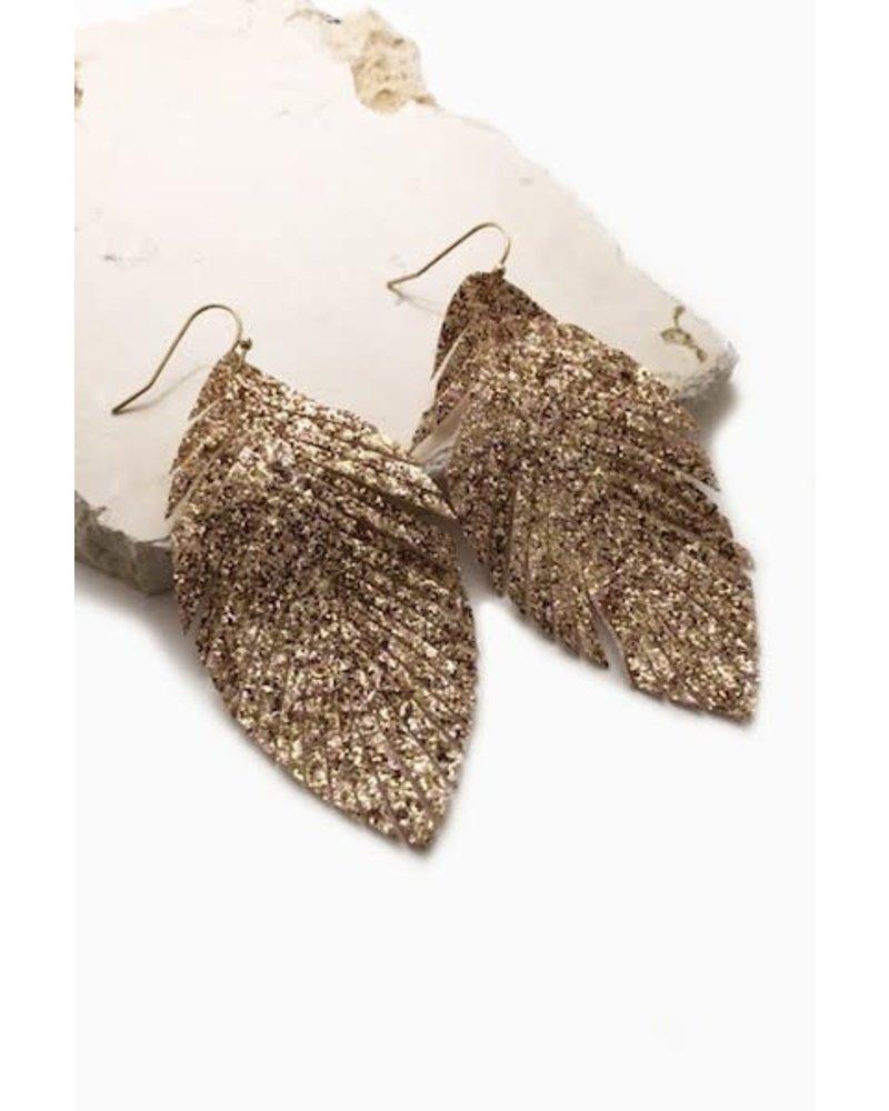 Glitter Fringed Leaf Earrings