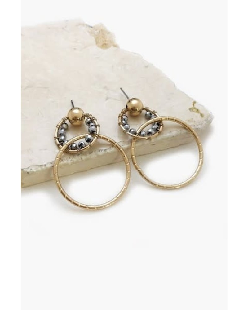Linked Beaded Ring Earrings