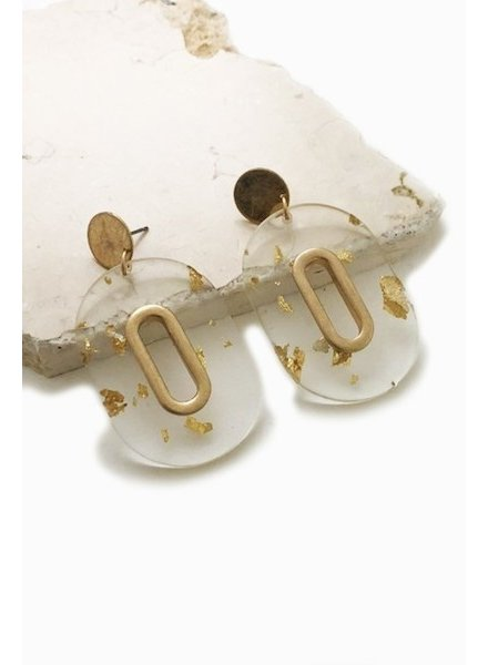 Gold and Acrylic Oval Earrings