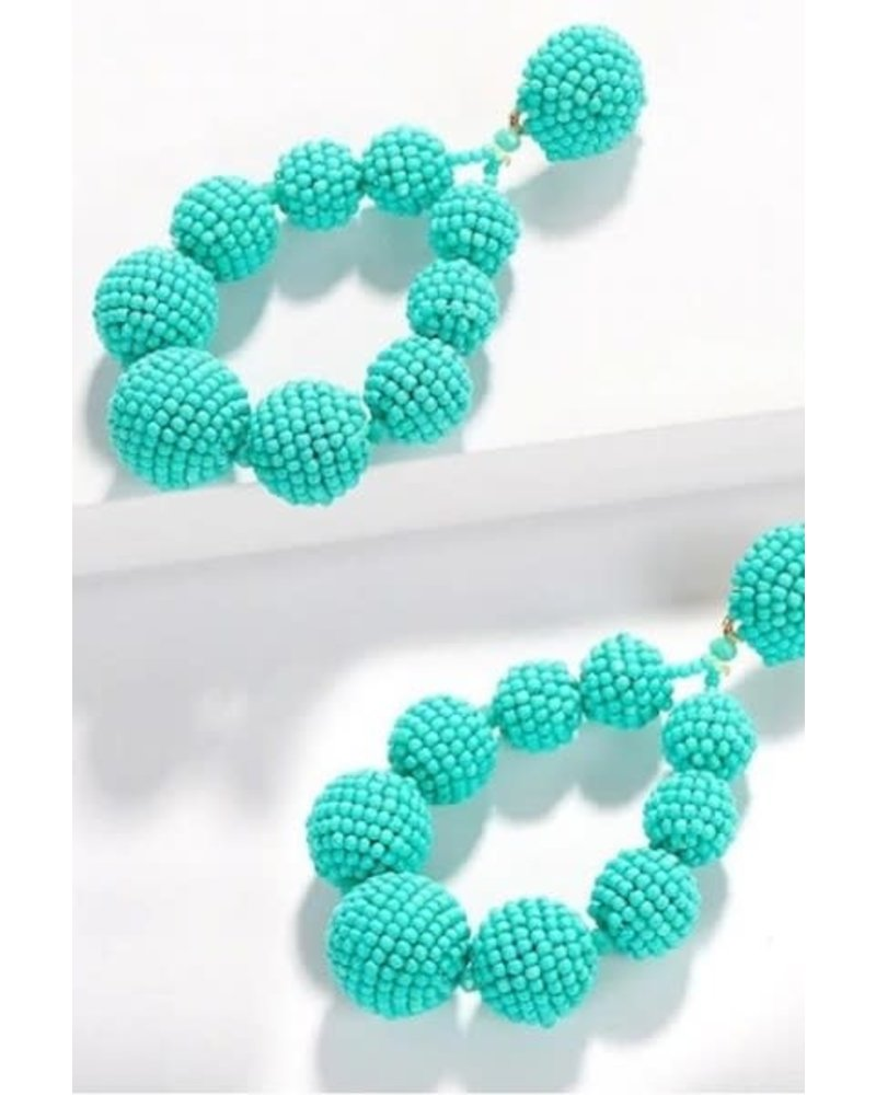 Bead Ball Drop Earrings - Turquoise