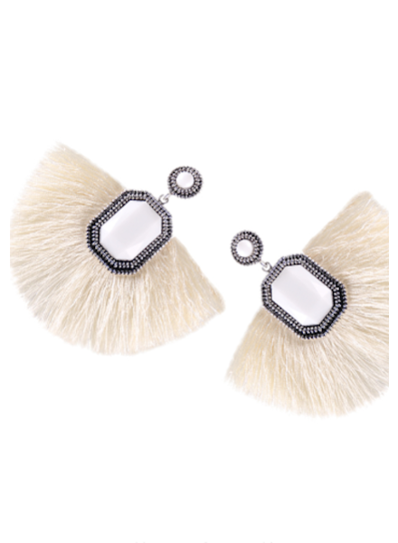 Fan Fringe Earrings - Ivory