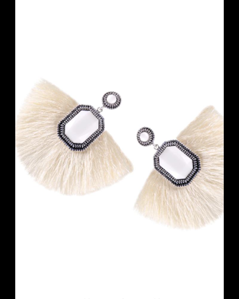 Fan Fringe Earrings - Ivory